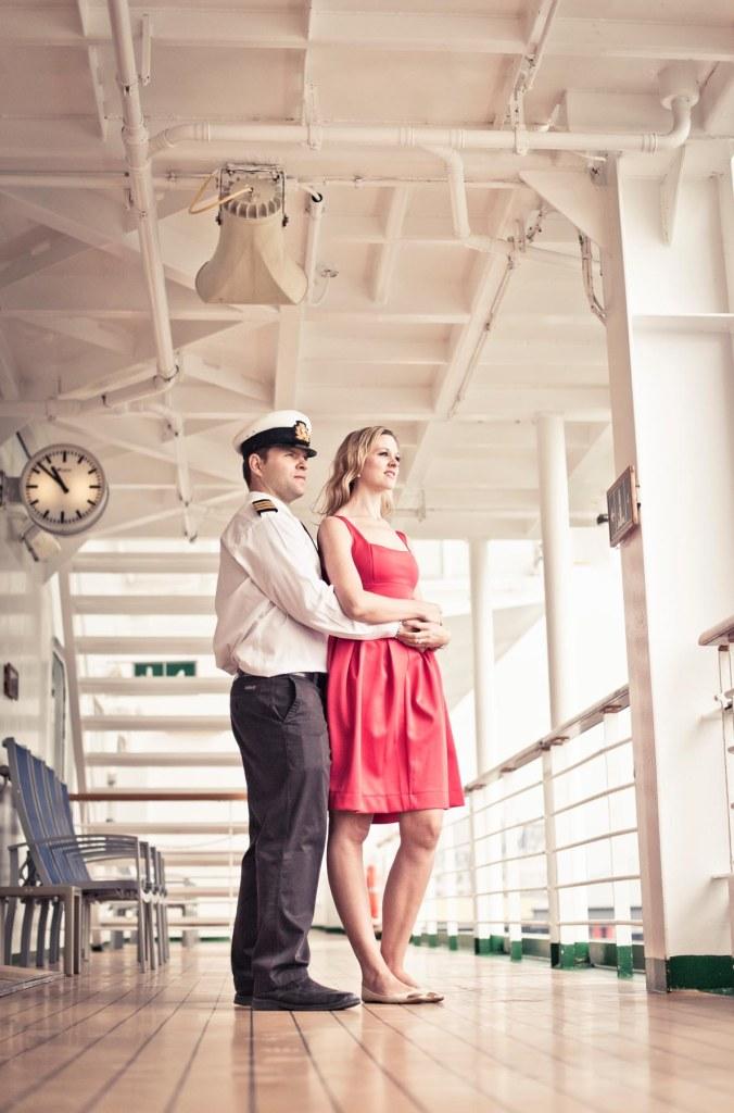 retro wedding pre-shoot; cruise ship engagement portraits