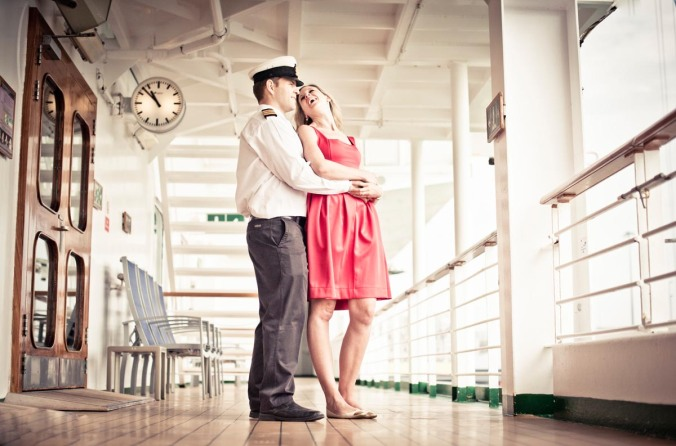 retro engagement shoot on ship; ventura wedding pre-shoot