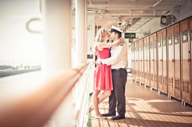 retro wedding on cruise ship