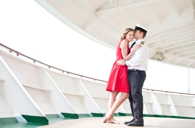 real love engagement shoot on Ventura cruise ship