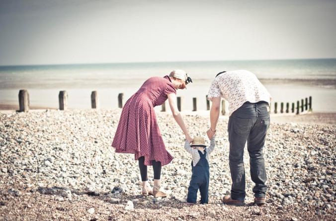 retro family beach portraits; brighton beach