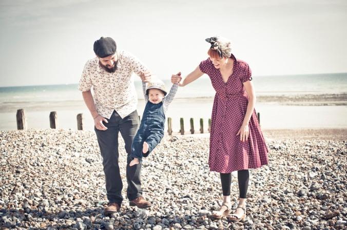 happy family portraits; retro brighton beach