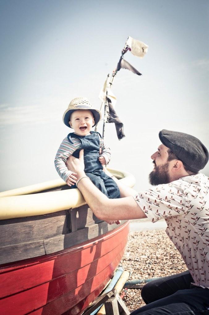 retro father and child; brighton beach portraits