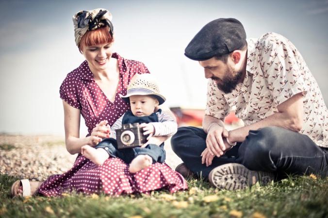 brighton family retro portraits; old camera kitsch