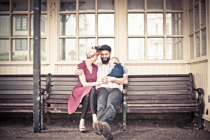 retro family shoot session; worthing beach
